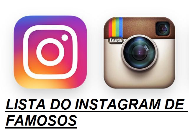 LISTA DO INSTAGRAM DE FAMOSOS
