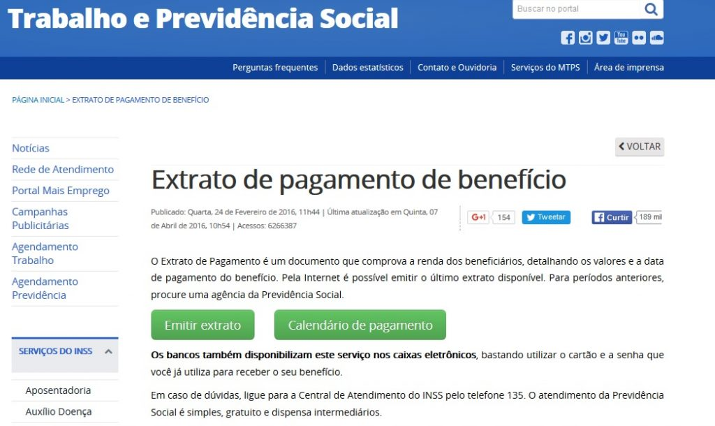 inss beneficio extrato