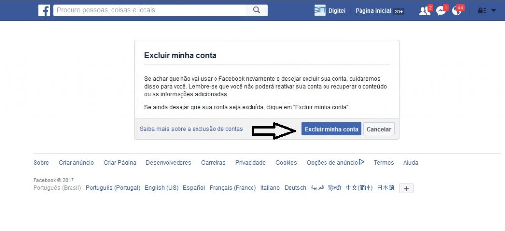 excluir o facebook definitivamente 2017 2018