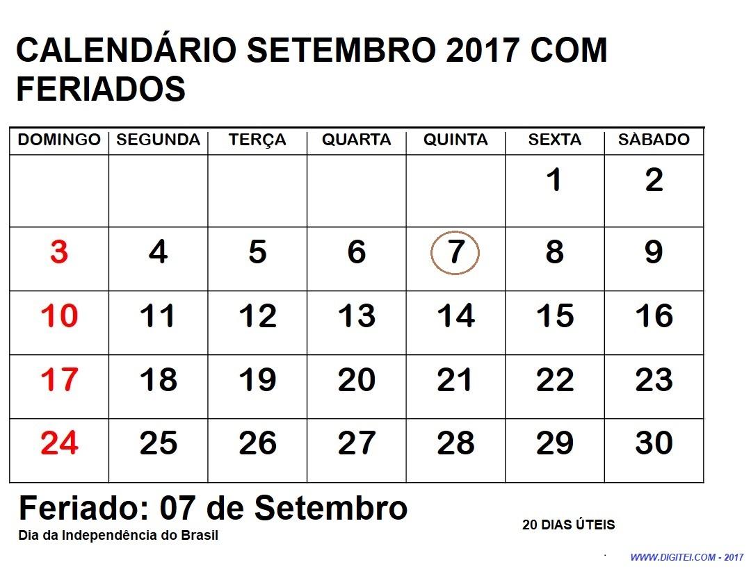 CALENDARIO SETEMBRO 2017 COM FERIADOS
