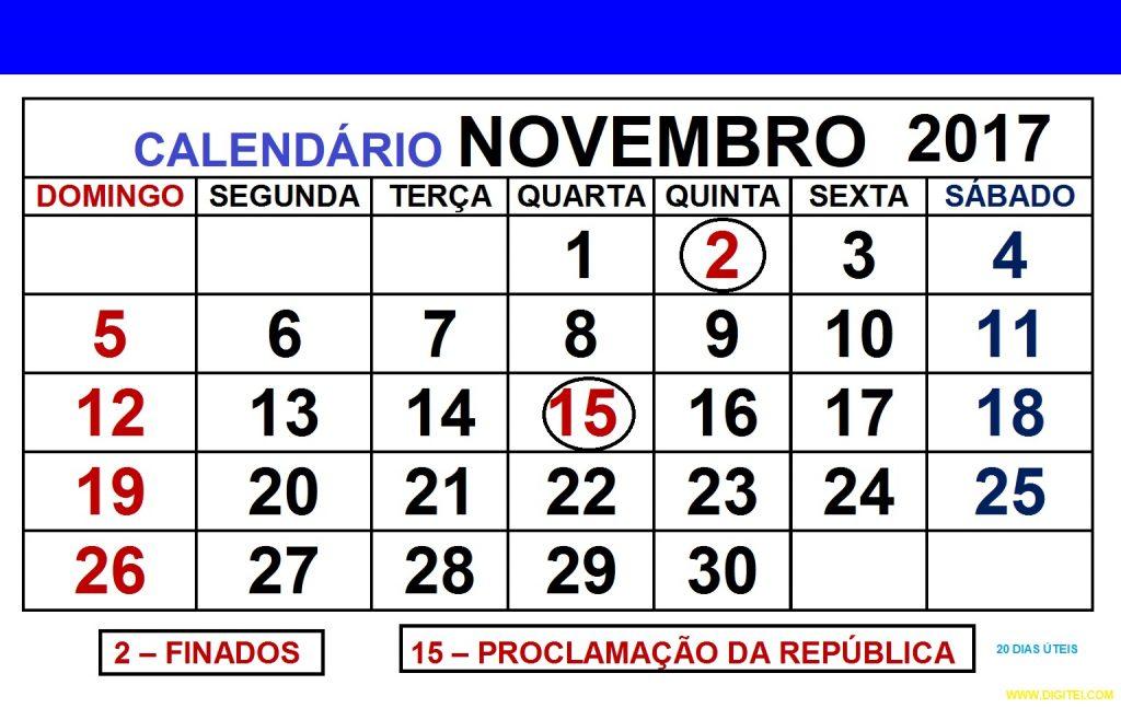 CALENDARIO NOVEMBRO 2017 COM FERIADOS para imprimir