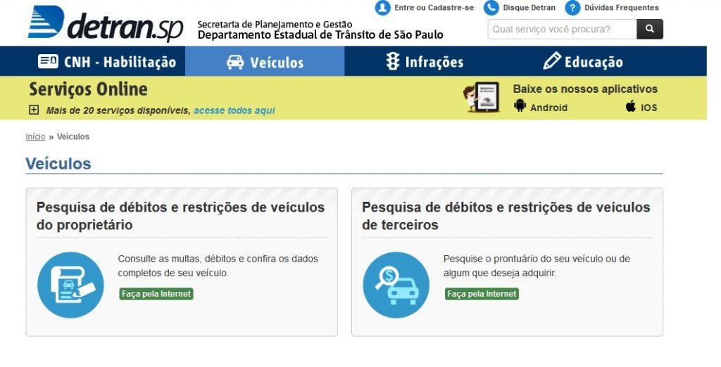 DETRAN SP CONSULTA VEICULO PELA PLACA E RENAVAM