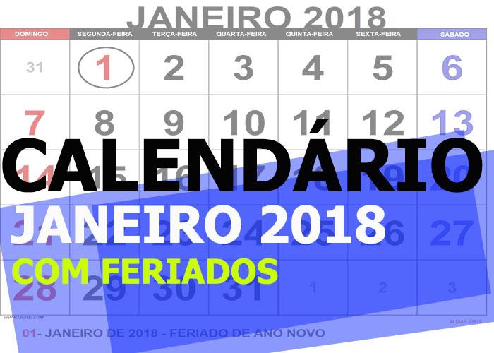 calendario janeiro 2018 para imprimir com feriados