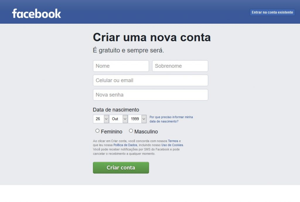 facebook criar conta nova