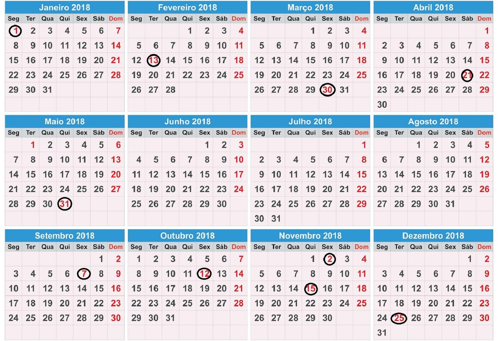 calendario 2018 com feriados para imprimir