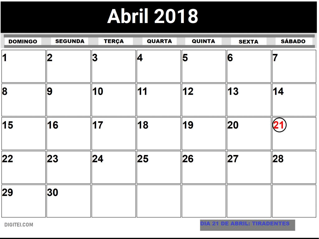 CALENDARIO ABRIL 2018 COM FERIADOS PARA IMPRIMIR