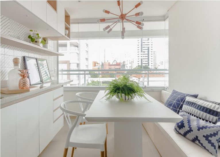 salas de jantar pequenas apartamento