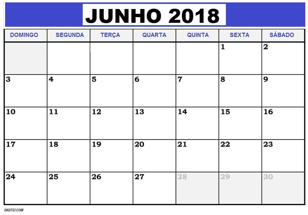 CALENDARIO JUNHO 2018 FERIADOS