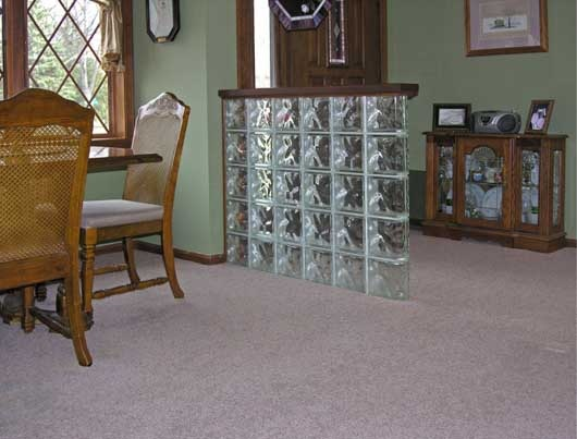 bancada de tijolo de vidro