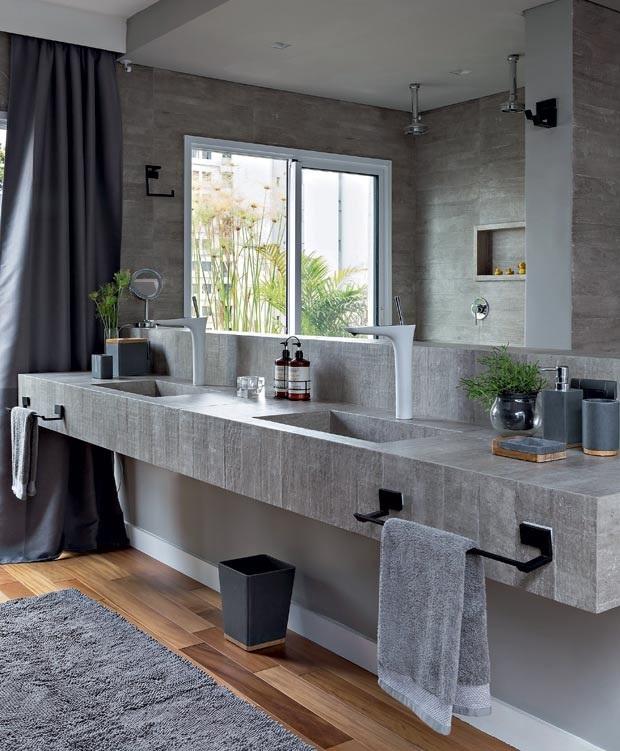 banheiro decorado com pedras palito