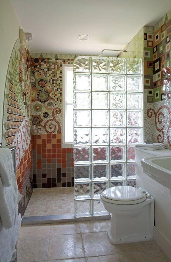 blocos de vidro banheiro