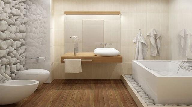 piso de banheiro de madeira