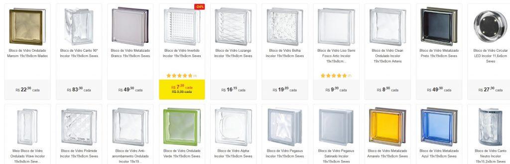 tijolo de vidro preço