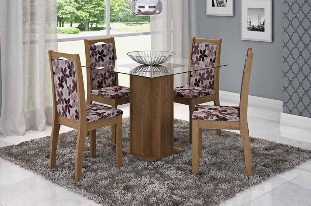 mesa de jantar 4 cadeiras pequena