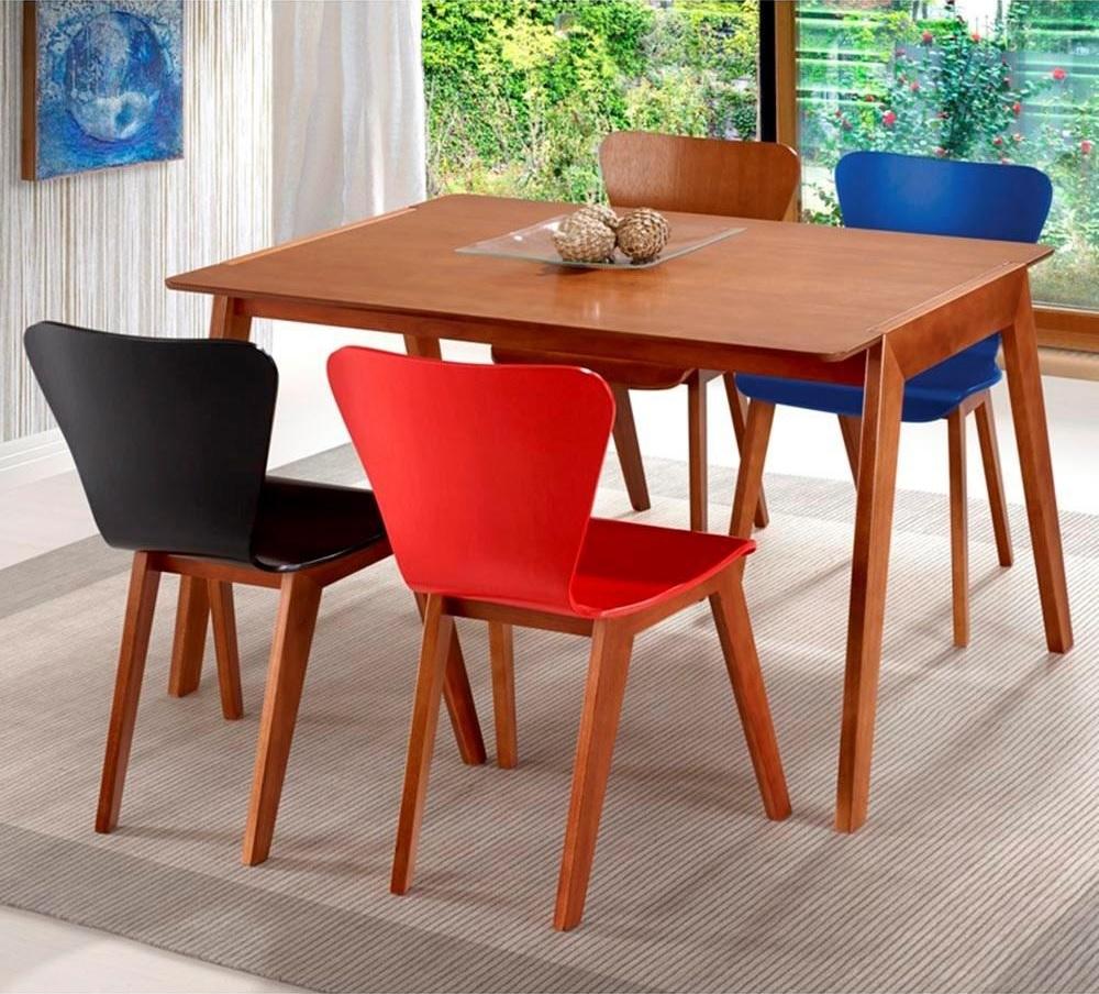 mesa de jantar 4 lugares de madeira
