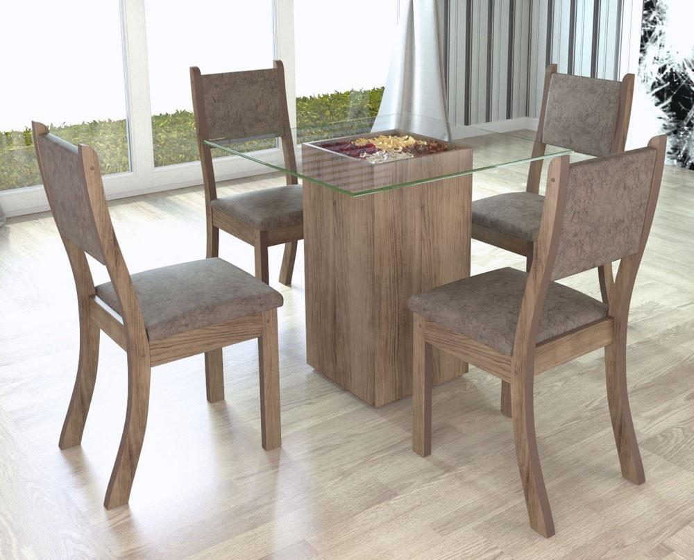 mesa de jantar de vidro e madeira