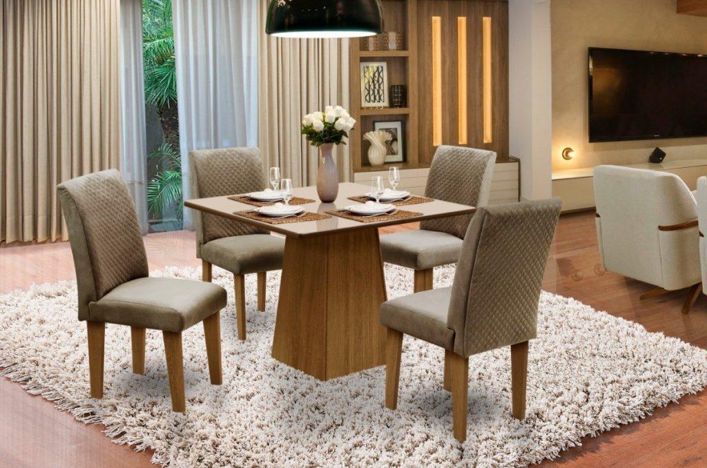 mesa de jantar luxuosa com 4 cadeiras