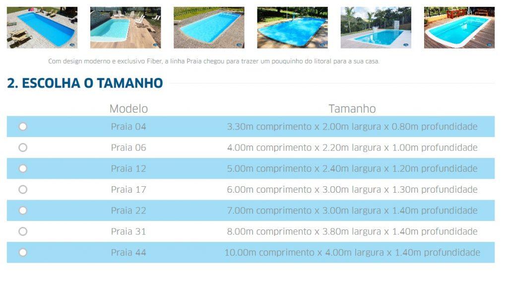piscina de fibra tamanhos e preços
