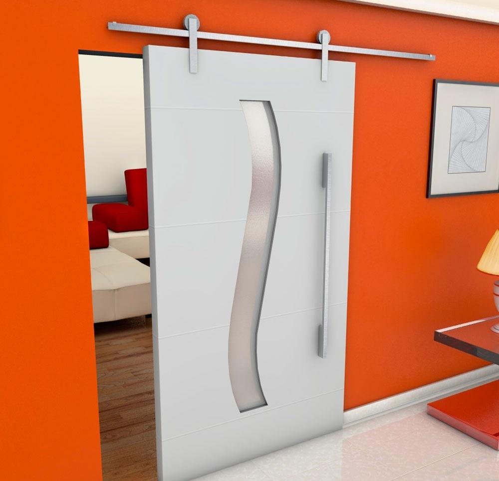 porta de madeira interna de correr com vidro