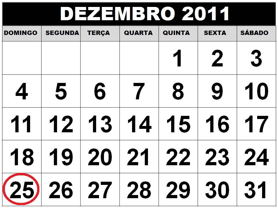 CALENDARIO DEZEMBRO 2011 PARA IMPRIMIR