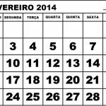 CALENDÁRIO FEVEREIRO 2014 PARA IMPRIMIR