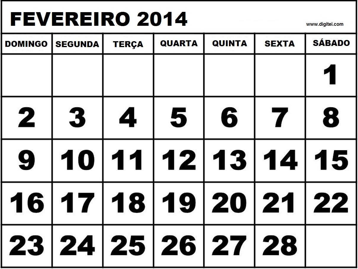CALENDARIO FEVEREIRO 2014 FERAIDOS PARA IMPRIMIR