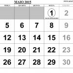 SUPER CALENDÁRIO MAIO 2015 PARA IMPRIMIR COM FERIADOS