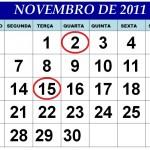 CALENDÁRIO NOVEMBRO 2011 FERIADOS E DATAS COMEMORATIVAS
