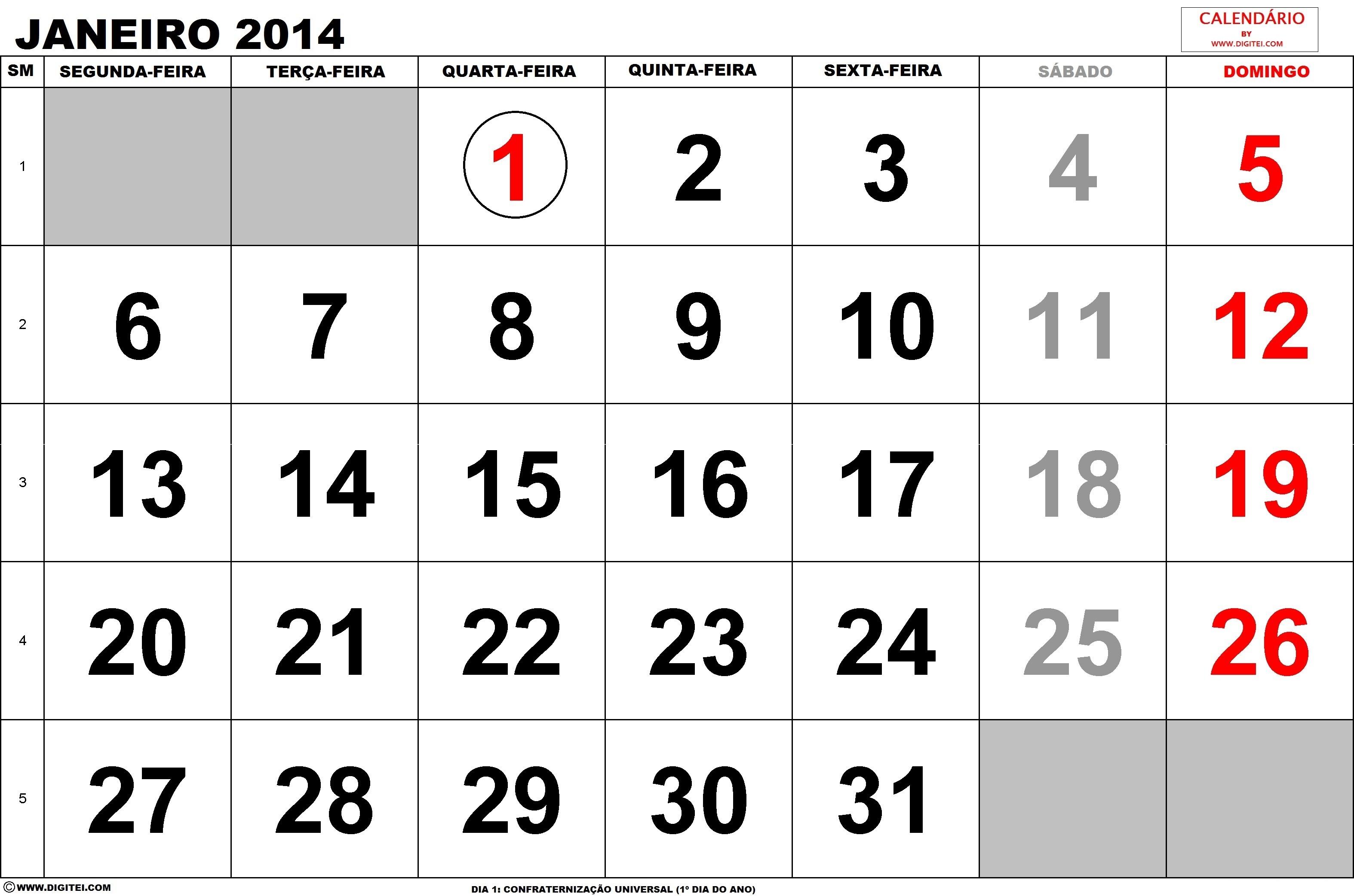Calendario Janeiro 2014 para imprimir com feriados - calendario 2014 janeiro