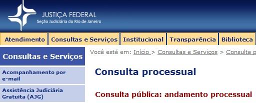 Justica Federal RJ Consulta Processo