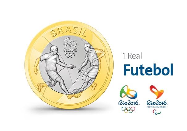 MOEDA COMEMORATIVA FUTEBOL RIO 2016 1 REAL