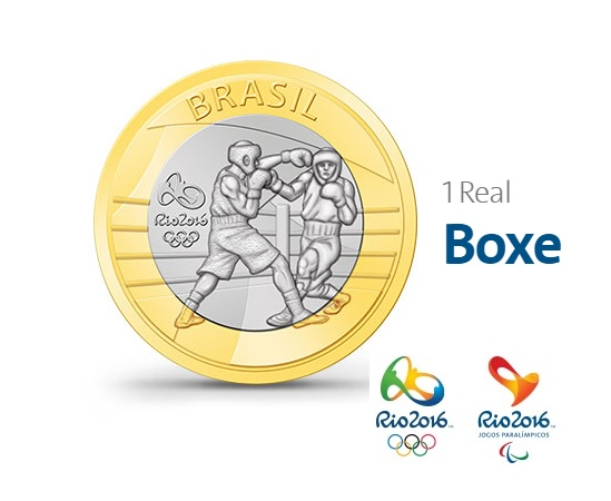 MOEDAS COMEMORATIVAS JOGOS OLIMPICOS RIO 2016 1 REAL BOXE