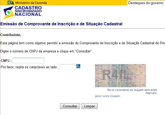 RECEITA FEDERAL CNPJ CONSULTA SITUACAO CADASTRAL