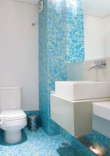 Gabinete Para Banheiro Banheiros modernos decorados com pastilhas -> Banheiro Decorado Com Gabinete De Vidro