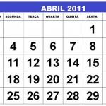 CALENDÁRIO ABRIL 2011 FERIADOS E DATAS COMEMORATIVAS
