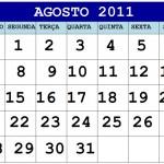 CALENDÁRIO AGOSTO 2011 FERIADOS E DATAS COMEMORATIVAS