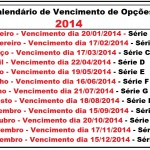 CALENDÁRIO DE VENCIMENTO DE OPÇÕES 2014