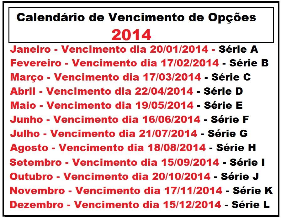 calendario de vencimento de opcoes 2014