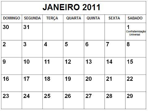 calendario janeiro 2011