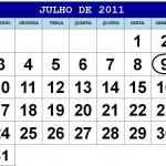CALENDÁRIO JULHO 2011 FERIADOS E DATAS COMEMORATIVAS