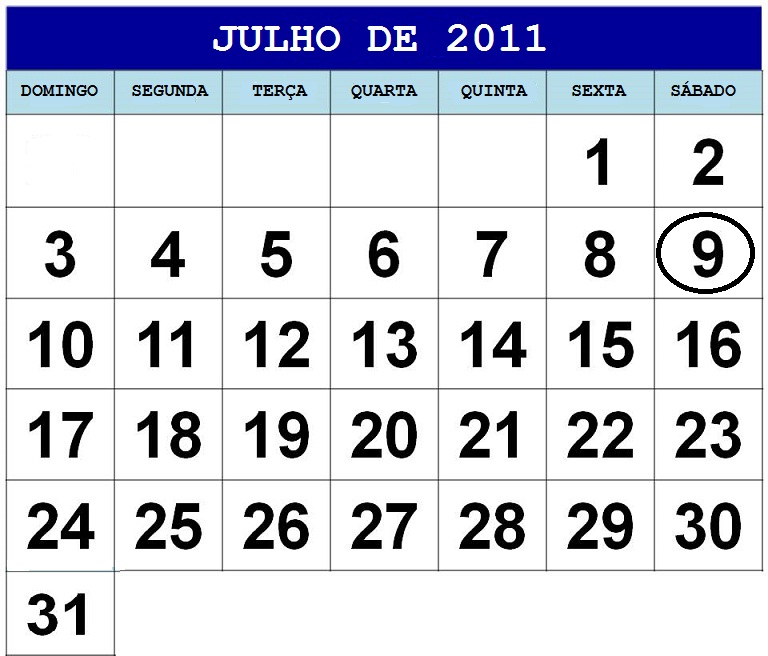 calendario julho 2011