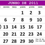 CALENDÁRIO JUNHO 2011 FERIADOS E DATAS COMEMORATIVAS