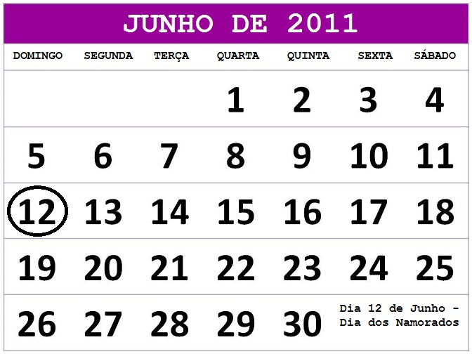2011 feriados e datas comemorativas o calendario junho 2011 calendario
