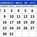 CALENDÁRIO MAIO 2011 FERIADOS E DATAS COMEMORATIVAS
