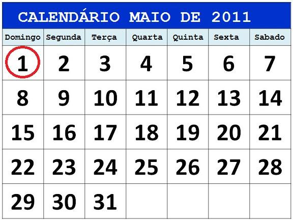 calendario maio 2011
