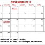 CALENDÁRIO NOVEMBRO 2010 FERIADOS E DATAS COMEMORATIVAS