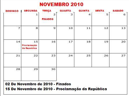 calendario novembro 2010