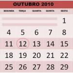 CALENDÁRIO OUTUBRO 2010 FERIADOS E DATAS COMEMORATIVAS