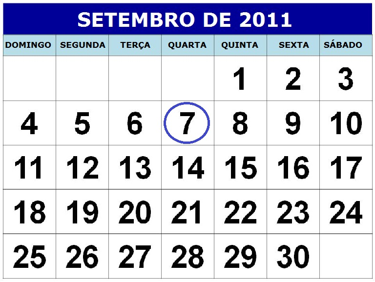 calendario setembro 2011 feriados para imprimir