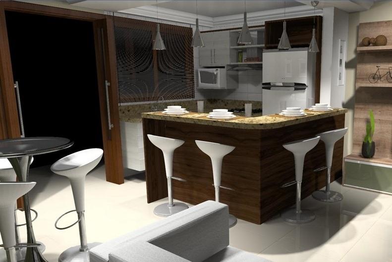 cozinha americana com bancada